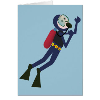 FUNNY SCUBA DIVING DIVER, TANK AND MASK SCUBA GEAR GREETING CARD