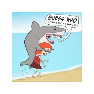 Funny Shark Loves Beach Season Canvas Print