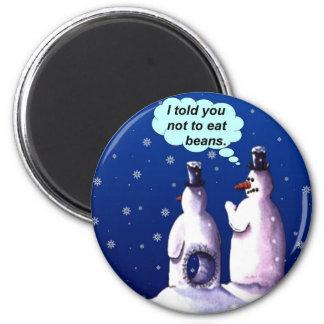 Funny Snowmen Cartoon 6 Cm Round Magnet