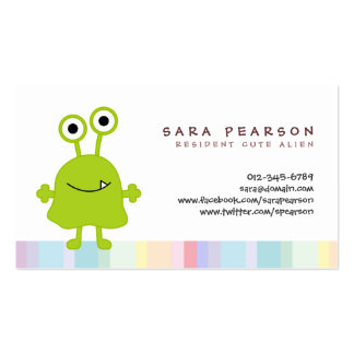 Funny Title Cute GreenMonster Alien Kids Name Card Pack Of Standard Business Cards
