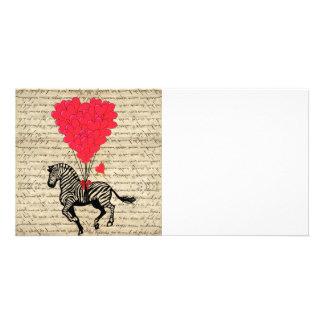 Funny vintage zebra & heart balloons photo card