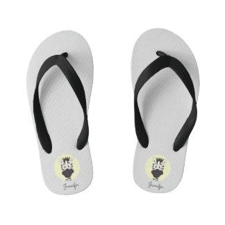 Funny zebra cartoon yellow name kids slippers flip flops