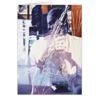 """Fusion"" Jazz Player Watercolor Art Greeting Card"