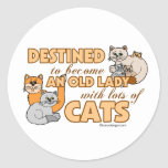 Future Crazy Cat Lady Funny Saying Design Round Sticker