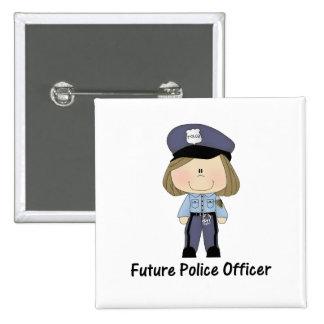 future police officer (girl) 15 cm square badge
