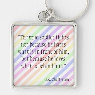 G.K. Chesterton Silver-Colored Square Key Ring