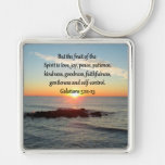 GALATIANS 5 FRUITS OF THE SPIRIT Silver-Colored SQUARE KEY RING