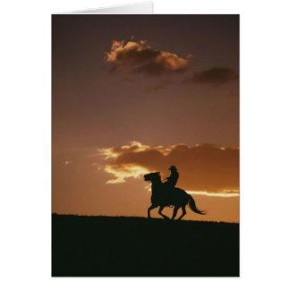 Galloping Cowboy Silhouette Greeting Card