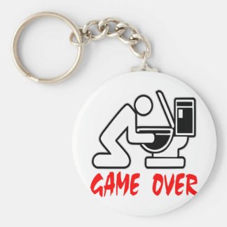 Game Over Drunk Basic Round Button Key Ring