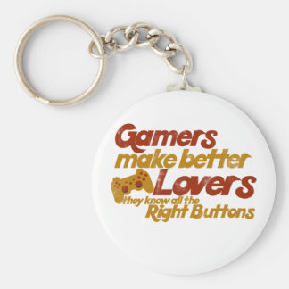 Gamers make better lovers basic round button key ring