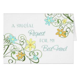 Garden Best Friend Maid of Honor Invitation Card