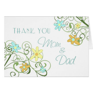 Garden Flowers Parents Wedding Day Thank You Card