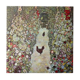 Garden Path w Chickens, Gustav Klimt, Art Nouveau Small Square Tile