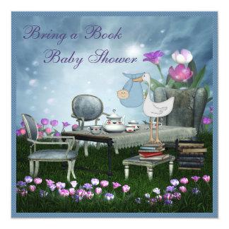 Garden Tea Party Bring A Book Baby Shower 13 Cm X 13 Cm Square Invitation Card