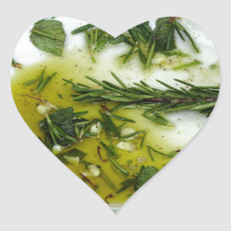 Garlic and herb infused olive oil heart sticker