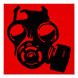 Gas Mask Gasmask Graphic Stencil Poster Sign