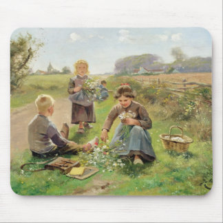 Gathering Flowers (oil on canvas) Mouse Pad