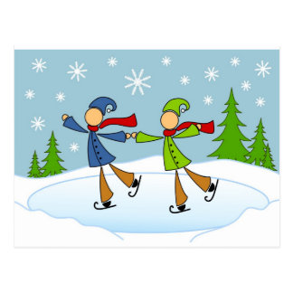 gay couple ice skating postcard