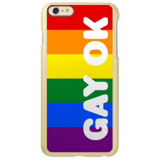 GAY OK Big White Logo LGBT Gay Pride Rainbow Flag iPhone 6 Plus Case