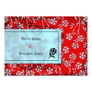 GC   Ruby Red & Turquoise Garden Inivtation 13 Cm X 18 Cm Invitation Card