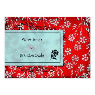 GC   Ruby Red & Turquoise Garden Metallic 13 Cm X 18 Cm Invitation Card