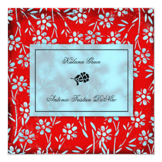 GC   Ruby Red & Turquoise Garden Square Inivtation 13 Cm X 13 Cm Square Invitation Card