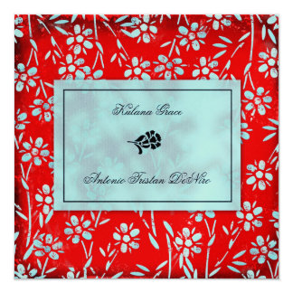 GC   Ruby Red & Turquoise Garden Square Metallic 13 Cm X 13 Cm Square Invitation Card