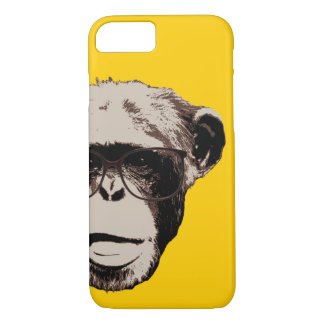 Geeky Chimp in Glasses Yellow iPhone 7 case