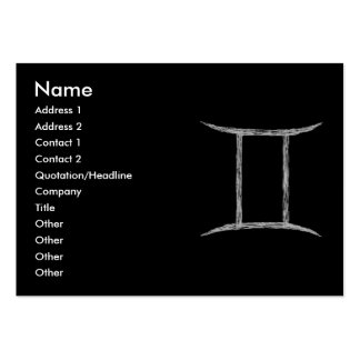 Gemini. Zodiac Astrology Sign. Black. Pack Of Chubby Business Cards