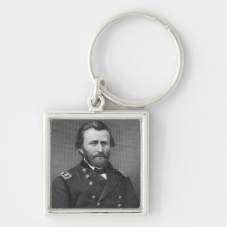 General Ulysses Simpson Grant, engraved after a da Silver-Colored Square Key Ring