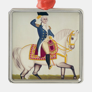 General Washington on a White Charger, c.1835 Silver-Colored Square Decoration