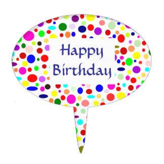 Generic Happy Birthday Colorful Polka Dot Pattern Cake Picks