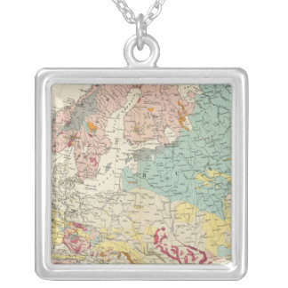 Geological map Europe Square Pendant Necklace