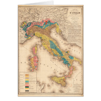 Geological Map of Italy by H. de Collegno (1844) Greeting Card