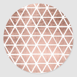 Geometric faux rose gold foil triangles pattern round sticker