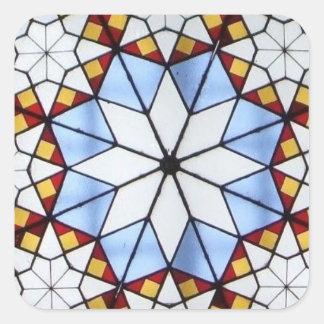 Geometric Stained Glass Window Square Sticker