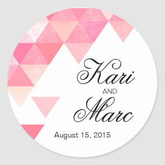 Geometric Triangles Favor Decal | peony pink mauve Round Sticker