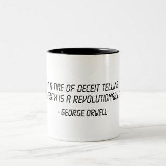 George Orwell Quote Two-Tone Mug
