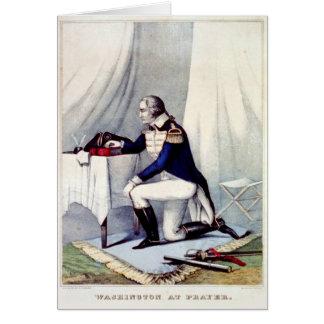 George Washington at Prayer Presidents Day Custom Greeting Card