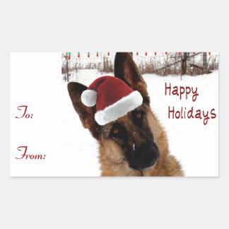 German Shepherd Holiday Gift Tags Rectangular Sticker