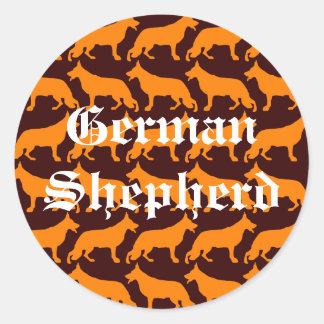 German  Shepherd Pattern Round Sticker