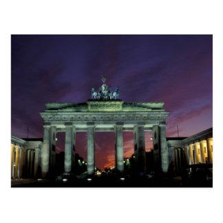 Germany, Berlin. Brandenburg Gate at night. Postcard