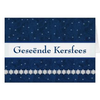 Geseënde Kersfees Snowflakes BLUE  Background Greeting Card