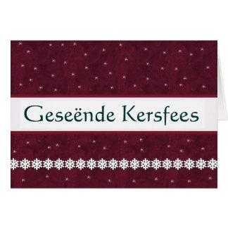 Geseënde Kersfees Snowflakes MAROON Background Greeting Card