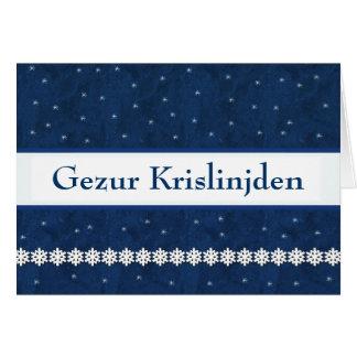 Gezur Krislinjden Snowflakes BLUE  Background Greeting Card