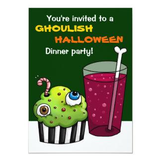 Ghoulish Halloween Dinner party 13 Cm X 18 Cm Invitation Card