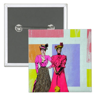 Gibson Girls in a Mondrian Pattern 15 Cm Square Badge