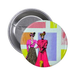 Gibson Girls in a Mondrian Pattern 6 Cm Round Badge