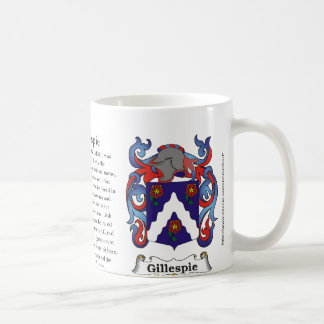 Gillespie, the origin, meaning and the crest basic white mug