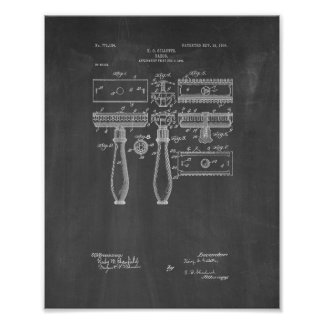 Gillette Razor Patent - Chalkboard Poster